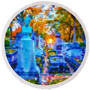 Sunset In Pere Lachaise Abstraction Round Beach Towel