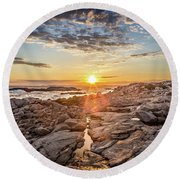Sunset In Prospect, Nova Scotia Round Beach Towel