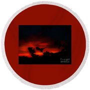 Sunset In Red And Black Round Beach Towel