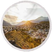 Sunset In Sion Round Beach Towel