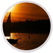 Sunset In Southern California Round Beach Towel