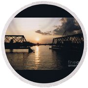 Sunset In Superior Wi Round Beach Towel