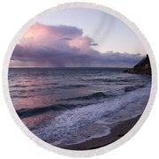 Sunset In The Ocean Round Beach Towel
