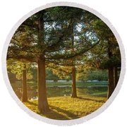 Sunset In The Park Round Beach Towel