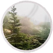 Sunset In The Pine Forest Round Beach Towel