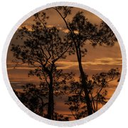 Sunset In The Pine Woods Round Beach Towel