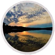 Sunset In The Pinelands  Round Beach Towel