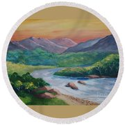 Sunset In The River Round Beach Towel