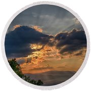 Sunset In The Shenandoah Valley Round Beach Towel