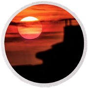 Sunset In Udine Round Beach Towel