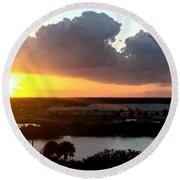 Sunset In Viera Florida Round Beach Towel