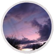 Sunset In Winter Skies  Round Beach Towel