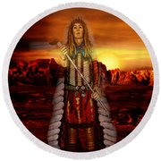Sunset Indian Chief Round Beach Towel