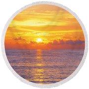 Sunset, Indian Rocks Beach, Florida, Usa Round Beach Towel
