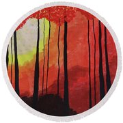 Sunset Into The Forest Round Beach Towel