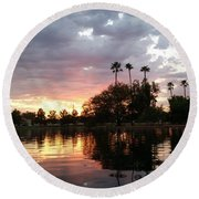 Sunset Island In Chaparral Lake Horizontal  Round Beach Towel