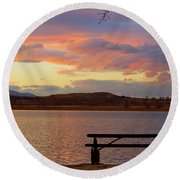 Sunset Lake Picnic Table View  Round Beach Towel
