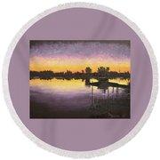 Sunset At Ryba Lake Round Beach Towel
