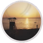 Sunset Life Guard Round Beach Towel