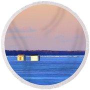 Sunset Light On The Ice Fishing Huts 2  Round Beach Towel