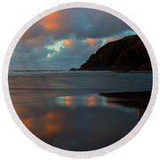 Sunset Light Reflections Round Beach Towel