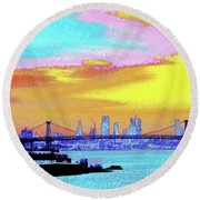 Sunset Lower Manhattan 2c5 Round Beach Towel