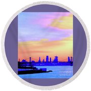 Sunset Lower Manhattan 2c2 Round Beach Towel