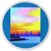 Sunset Lower Manhattan 2c3 Round Beach Towel