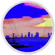 Sunset Lower Manhattan 2c7 Round Beach Towel