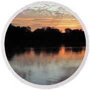 Sunset, Luangwa River, Zambia Round Beach Towel