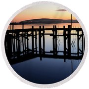 Sunset Magic Bodega Bay California Round Beach Towel