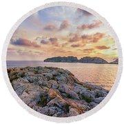 Sunset Malgrats Islands Round Beach Towel