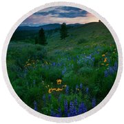 Sunset Meadow Trail Round Beach Towel