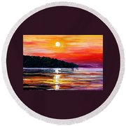 Sunset Melody Round Beach Towel