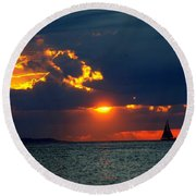 Sunset Montauk Ny Round Beach Towel