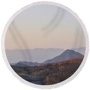 Sunset Mountains  Round Beach Towel