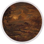 Sunset Near Arbonne , Theodore Rousseau Round Beach Towel