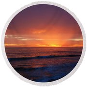 Sunset Near Carpinteria Round Beach Towel