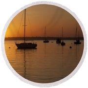 Sunset Newport Boats Round Beach Towel