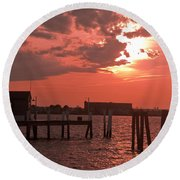 Sunset Newport Rhode Island Round Beach Towel