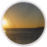 Sunset Off Of Cape May Round Beach Towel