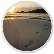 Sunset On A Beach Round Beach Towel