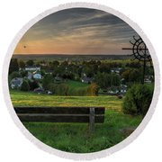 Sunset On A Beautiful Place Round Beach Towel