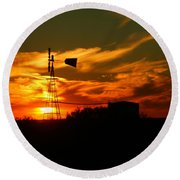 Sunset On A Windmill Jal New Mexico Round Beach Towel