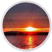 Sunset On A Yacht  Round Beach Towel