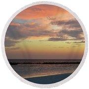 Sunset On An Idyllic Island In Maldives Round Beach Towel