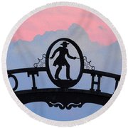 Sunset On Boot Hill Round Beach Towel
