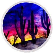 Sunset On Cactus Round Beach Towel