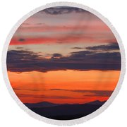 Sunset On Caney Fork Overlook Round Beach Towel