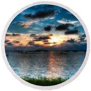 Sunset On Cedar Key Round Beach Towel
